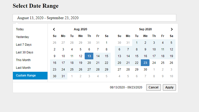 How to Add Date Ranger Picker and Custom Date Picker