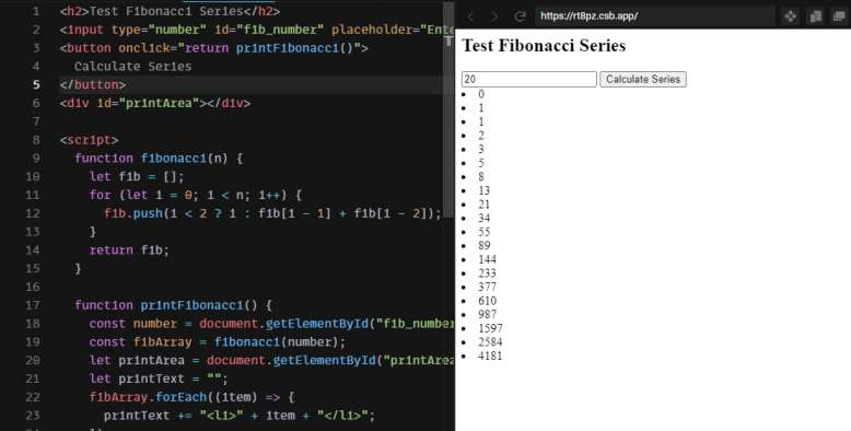 Fibonacci Series Algorithm with printing in JavaScript Line by Line Code Example